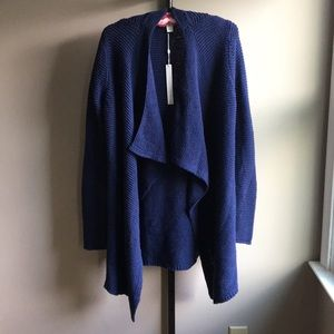 🍷CASLON Blue Knit Flyaway Cardigan Size S NWT